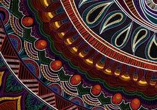 Hand-drawn tribal paysley pattern, mandala style. Black and bright colors Royalty Free Stock Photos
