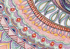 Hand-drawn tribal paysley pattern, mandala style. White and bright colors Stock Photo