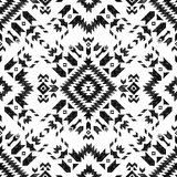 Hand drawn tribal seamless pattern. Hand drawn black and white tribal seamless pattern Stock Photography
