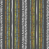 Hand drawn tribal stripes, stitches on dark grey background vector seamless pattern. Fresh abstract geometric drawing. Hand drawn earthy tones tribal lines and royalty free illustration