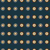 Hand drawn tribal style blue and yellow circles on dark blue background vector illustration