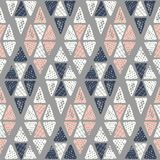 Hand drawn tribal textured argyle on grey background vector seamless pattern. Ethnic triangles geometric drawing royalty free illustration