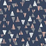 Hand drawn tribal textured triangles on dark blue background vector seamless pattern. Ethnic abstract geometric drawing. Inspired by traditional kilims Stock Illustration