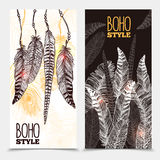 Hand Drawn Tribal Vertical Banners. With bird feathers of different shapes in boho style vector illustration Stock Image