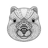 Hand drawn tribal Wombat face, animal totem for adult. Coloring Page with high details  on white background, illustration in zentangle style. Vector monochrome Royalty Free Stock Image