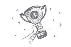 Hand drawn trophy for the first place in palm Royalty Free Stock Photography