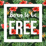 Hand drawn tropical background with slogan Royalty Free Stock Photo