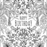 Hand drawn tropical birthday card design Royalty Free Stock Photos