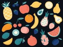 Free Hand Drawn Tropical Fruits. Organic Apple, Banana, Lemon And Pear Slices, Cherry And Mango, Watermelon Stock Image - 196588541