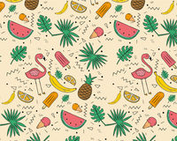 Hand Drawn tropical fruits pattern Royalty Free Stock Photography