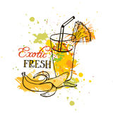 Hand drawn tropical juice in glass Royalty Free Stock Photography