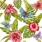 Hand drawn tropical leaves flowers and butterfly seamless patter Stock Photography