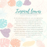 Hand drawn tropical palm leaves card Stock Photo