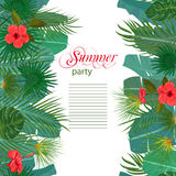 Hand drawn tropical palm leaves and jungle exotic flower flyer template on white background with seamless frame border Stock Image