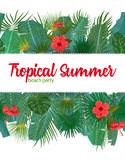 Hand drawn tropical palm leaves and jungle exotic flower flyer template on white background with seamless frame border Royalty Free Stock Photo