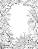 Hand Drawn Tropical Plants Frame. Hand drawn branches and leaves of tropical plants. Monochrome rectangle vertical l floral frame. Monstera, ficus, fern, liana Stock Photo
