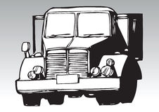 Hand drawn truck. Hand drawn black and white illustration of a truck Royalty Free Stock Image