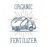 Hand Drawn Truck with Giant Vegetables with Organic Fertilizer Lettering. Vector. Illustration Royalty Free Stock Image