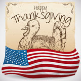 Hand Drawn Turkey in Scroll and American Flag for Thanksgiving, Vector Illustration royalty free illustration