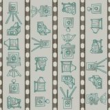 Hand Drawn Turquoise Seamless Vintage and Antique Camera Pattern with Film Strip Stripes on a Green Gray Background. royalty free illustration