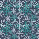 Turquoise and white snowflakes seamless pattern. Vector illustration on dark blue background. Hand drawn turquoise and white snowflakes seamless pattern. Vector stock illustration