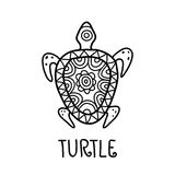 Hand drawn turtle tribal symbol. Vector decorative illustration Royalty Free Stock Photos