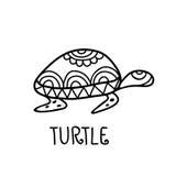 Hand drawn turtle tribal symbol. Vector decorative illustration Stock Image