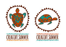 Hand drawn turtle tribal symbol. Vector illustration isolated on Stock Images