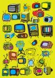 Hand drawn  TVs. Hand drawn retro tvs doodle set Stock Photos