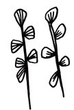 Hand drawn twigs and leaves royalty free stock images