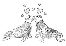 Hand drawn two seals kissing each other for coloring book for adult Stock Image