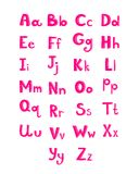 Hand drawn type font, pink children alphabet Stock Image
