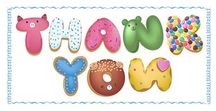 Hand drawn type that says Thank you in the shape of delicious and colorful cookies on a flyer, brochure, poster template