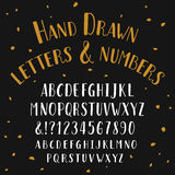 Hand drawn typeface. Alphabet vector font with small caps. Royalty Free Stock Photo