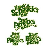 Design lettering set with shamrock for St.Patrick`s Day vector illustration