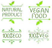 Hand-drawn typographic elements for design. Natural products and vegan food labels. VECTOR illustrations set Royalty Free Stock Photo