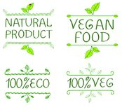 Hand-drawn typographic elements for design. Natural products and vegan food labels. Hand written letters Royalty Free Stock Photo