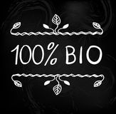 Hand drawn typographic elements on blackboard. 100 percent BIO. VECTOR illustration. Hand drawn typographic elements isolated on black background. 100 percent Stock Image
