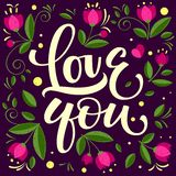 Hand drawn typographic inscription, lettering design Love you vector illustration