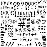 Hand drawn typographic marks. Alphabet symbols signs. Vector sk. Etch illustration vector illustration