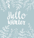 Hand drawn typography card. Hello winter hand-lettering on  blue background. Vector illustration Stock Photo