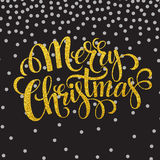 Hand drawn typography card. Merry christmas. Greetings gold glitter hand lettering. Vector illustration EPS 10 Stock Photos