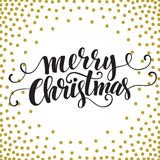 Hand drawn typography card. Merry christmas. Greetings gold glitter hand lettering. Vector illustration EPS 10 Royalty Free Stock Photography