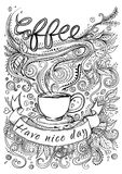 Hand drawn typography coffee poster. Stock Photo