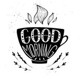 Hand drawn typography illustration - Good morning. Royalty Free Stock Images