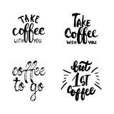 Hand drawn typography lettering Coffee phrases set. Modern calligraphy for greeting and invitation card, photo overlays Royalty Free Stock Photos