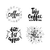 Hand drawn typography lettering Coffee phrases set. Modern calligraphy for greeting and invitation card, photo overlays Stock Photo