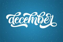 Hand drawn typography lettering phrase December  on the blue background. Fun brush ink calligraphy inscription for winter Stock Photography