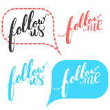 Hand drawn typography lettering phrase Follow me and follow us in the bubble speech for social network Stock Photos
