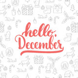 Hand drawn typography lettering phrase Hello, December isolated on the Christmas pattern background. Fun brush ink Stock Illustration